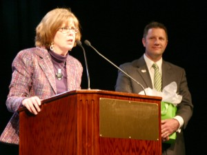 New OVMA President Dr. Linda Lord (left) thanks Immediate Past President Dr. Jason Johnston, right, for his service.